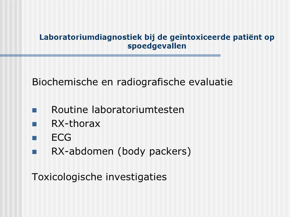Laboratoriumdiagnostiek bij de geïntoxiceerde patiënt op spoedgevallen Biochemische en radiografische evaluatie  Routine laboratoriumtesten  RX-thor