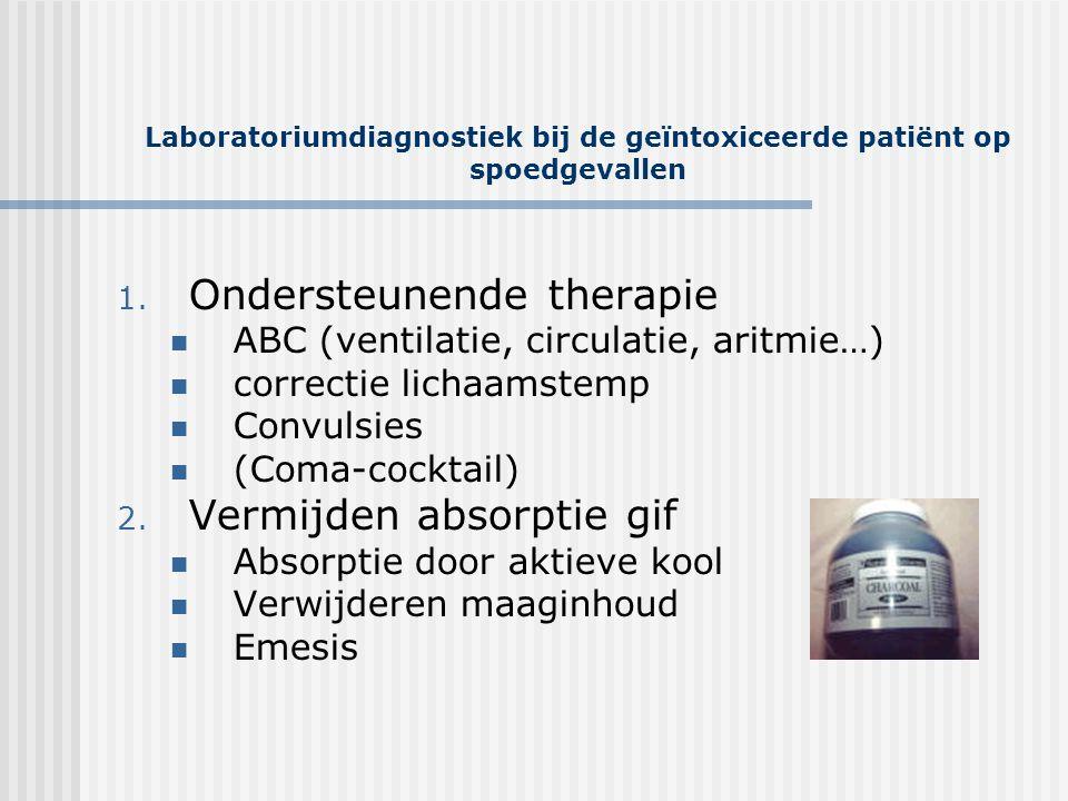 Laboratoriumdiagnostiek bij de geïntoxiceerde patiënt op spoedgevallen 1. Ondersteunende therapie  ABC (ventilatie, circulatie, aritmie…)  correctie