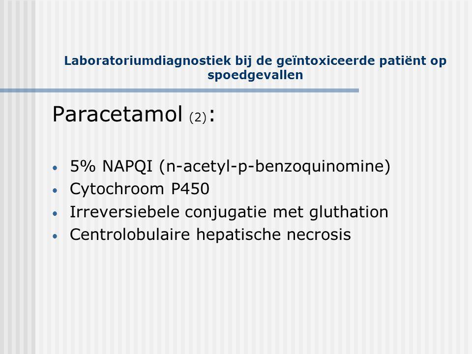Laboratoriumdiagnostiek bij de geïntoxiceerde patiënt op spoedgevallen Paracetamol (2) : • 5% NAPQI (n-acetyl-p-benzoquinomine) • Cytochroom P450 • Ir