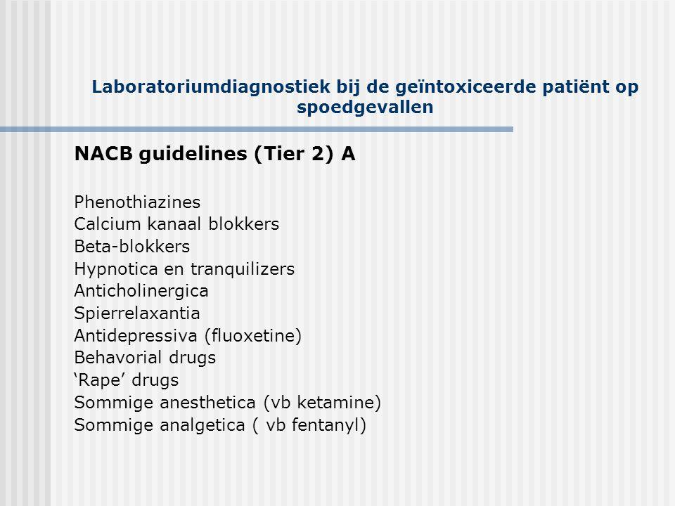 Laboratoriumdiagnostiek bij de geïntoxiceerde patiënt op spoedgevallen NACB guidelines (Tier 2) A Phenothiazines Calcium kanaal blokkers Beta-blokkers