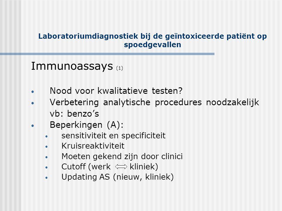 Laboratoriumdiagnostiek bij de geïntoxiceerde patiënt op spoedgevallen Immunoassays (1) • Nood voor kwalitatieve testen? • Verbetering analytische pro