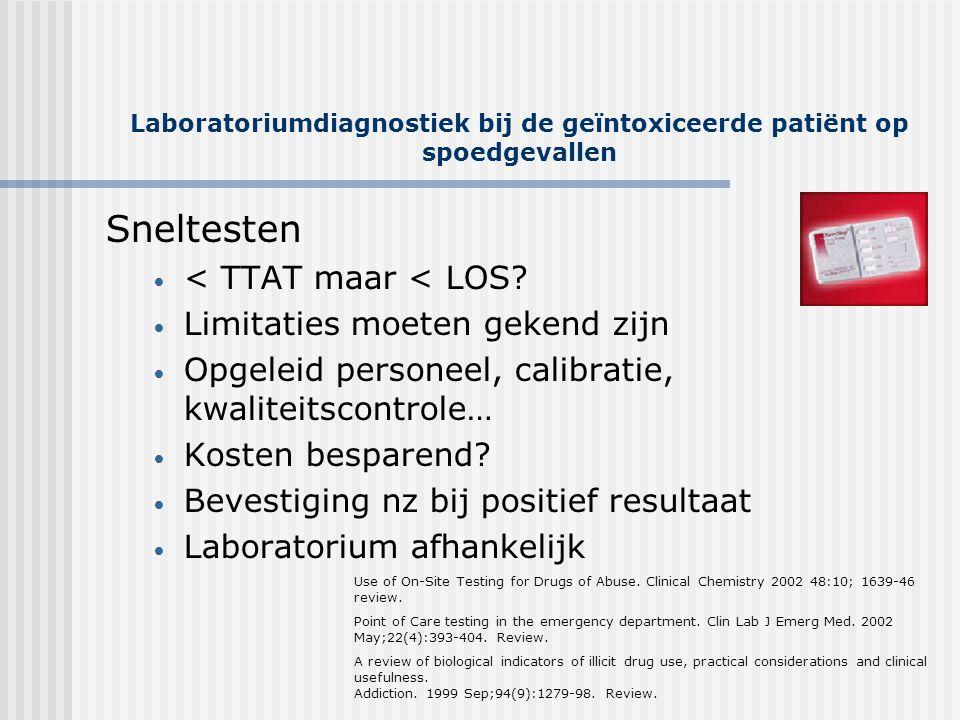 Laboratoriumdiagnostiek bij de geïntoxiceerde patiënt op spoedgevallen Sneltesten • < TTAT maar < LOS? • Limitaties moeten gekend zijn • Opgeleid pers