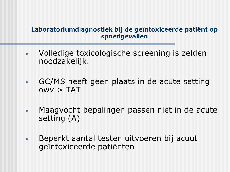 Laboratoriumdiagnostiek bij de geïntoxiceerde patiënt op spoedgevallen • Volledige toxicologische screening is zelden noodzakelijk. • GC/MS heeft geen