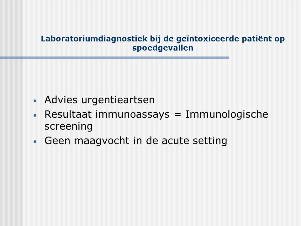 Laboratoriumdiagnostiek bij de geïntoxiceerde patiënt op spoedgevallen • Advies urgentieartsen • Resultaat immunoassays = Immunologische screening • G