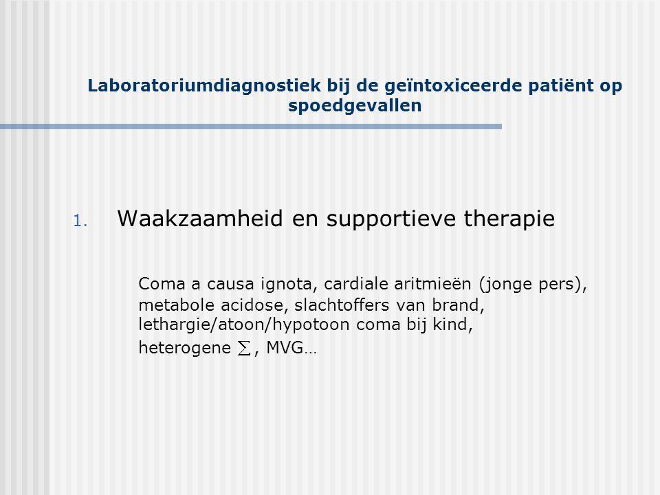 Laboratoriumdiagnostiek bij de geïntoxiceerde patiënt op spoedgevallen Organofosfaten/ Carbamaten • Resp irreversiebele en reversiebele inhibitie van acetylcholinesterase accumelatie acetylcholine •  : 12-24 uur, resp falen, ventriculaire aritmieën, CNS depressie • Overstimulatie van muscarine, nicotine, centrale receptoren • SLUDGE • Rbc- en pseudocholinesterase • R/ stabilisatie, atropine…