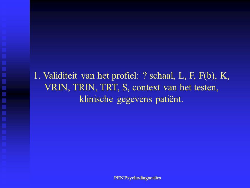 PEN Psychodiagnostics 1. Validiteit van het profiel: ? schaal, L, F, F(b), K, VRIN, TRIN, TRT, S, context van het testen, klinische gegevens patiënt.