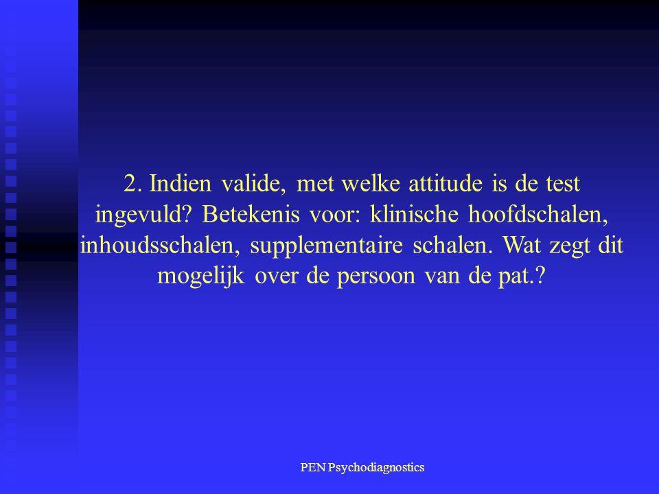PEN Psychodiagnostics 2. Indien valide, met welke attitude is de test ingevuld? Betekenis voor: klinische hoofdschalen, inhoudsschalen, supplementaire