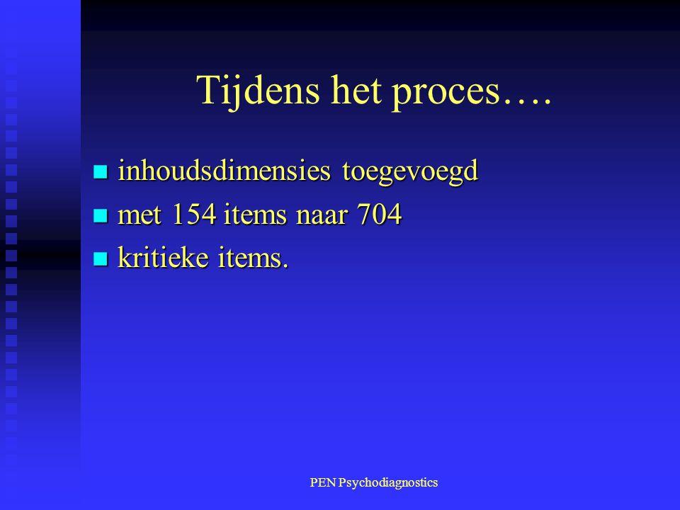 PEN Psychodiagnostics Tijdens het proces…. n inhoudsdimensies toegevoegd n met 154 items naar 704 n kritieke items.