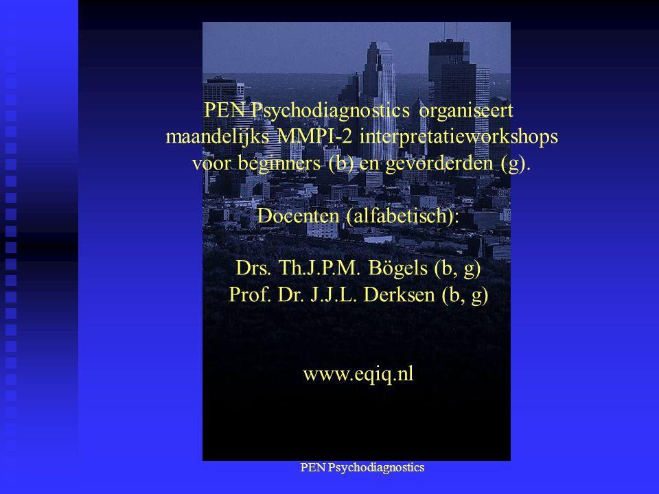 PEN Psychodiagnostics PEN Psychodiagnostics organiseert maandelijks MMPI-2 interpretatieworkshops voor beginners (b) en gevorderden (g). Docenten (alf