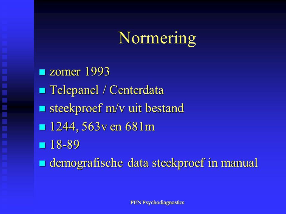 PEN Psychodiagnostics Normering n zomer 1993 n Telepanel / Centerdata n steekproef m/v uit bestand n 1244, 563v en 681m n 18-89 n demografische data s