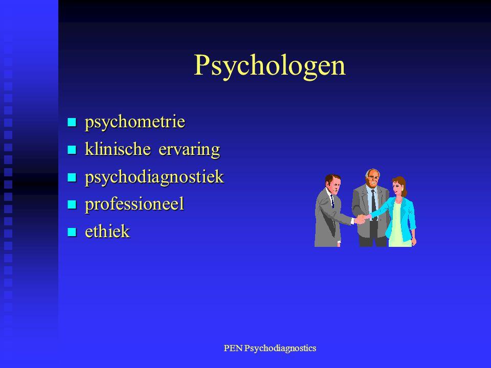 PEN Psychodiagnostics Psychologen n psychometrie n klinische ervaring n psychodiagnostiek n professioneel n ethiek