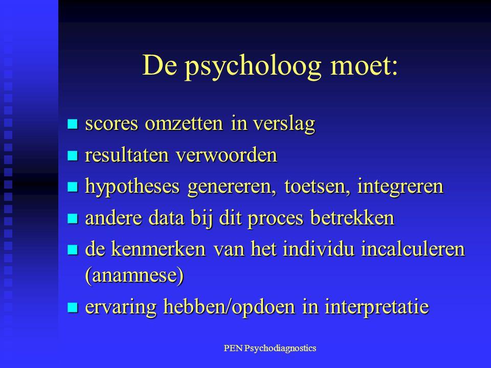 PEN Psychodiagnostics De psycholoog moet: n scores omzetten in verslag n resultaten verwoorden n hypotheses genereren, toetsen, integreren n andere da