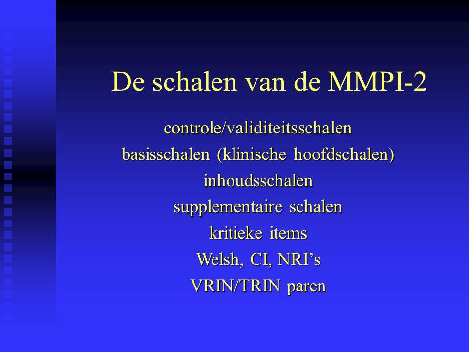De schalen van de MMPI-2 controle/validiteitsschalen basisschalen (klinische hoofdschalen) inhoudsschalen supplementaire schalen kritieke items Welsh,