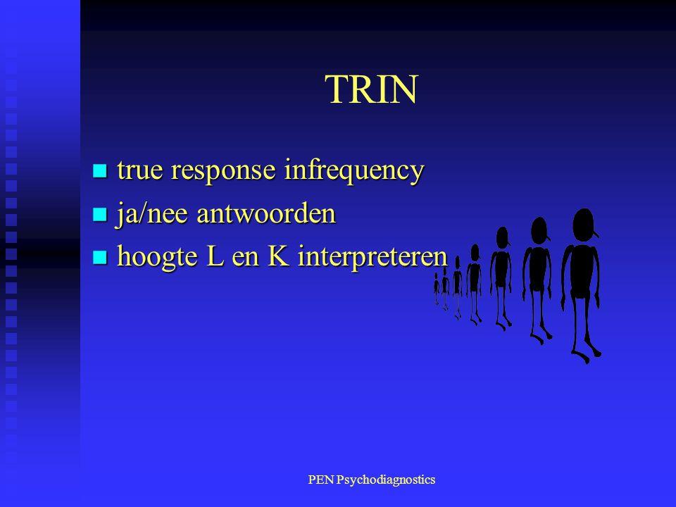 PEN Psychodiagnostics TRIN n true response infrequency n ja/nee antwoorden n hoogte L en K interpreteren
