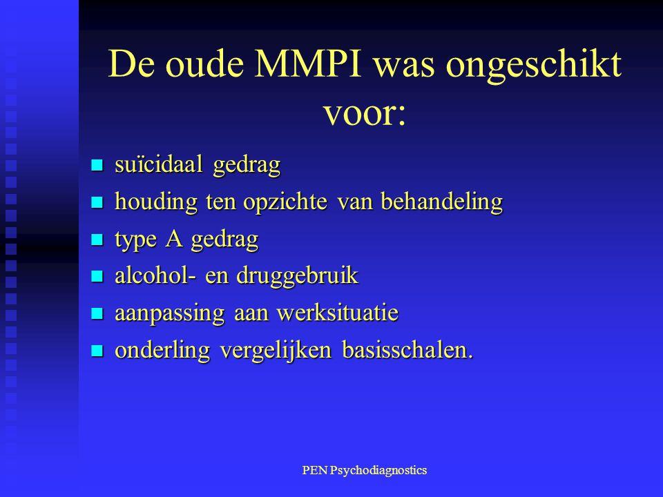 PEN Psychodiagnostics De oude MMPI was ongeschikt voor: n suïcidaal gedrag n houding ten opzichte van behandeling n type A gedrag n alcohol- en drugge