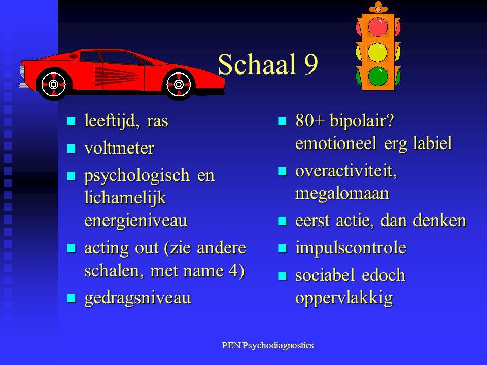 PEN Psychodiagnostics Schaal 9 n leeftijd, ras n voltmeter n psychologisch en lichamelijk energieniveau n acting out (zie andere schalen, met name 4)