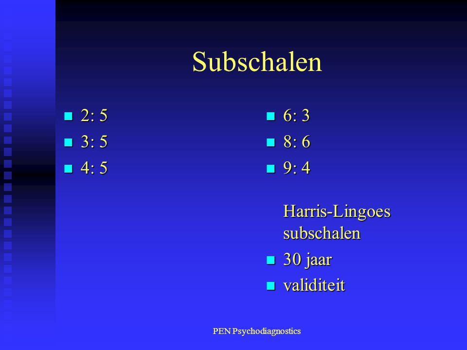 PEN Psychodiagnostics Subschalen n 2: 5 n 3: 5 n 4: 5 n 6: 3 n 8: 6 n 9: 4 Harris-Lingoes subschalen n 30 jaar n validiteit
