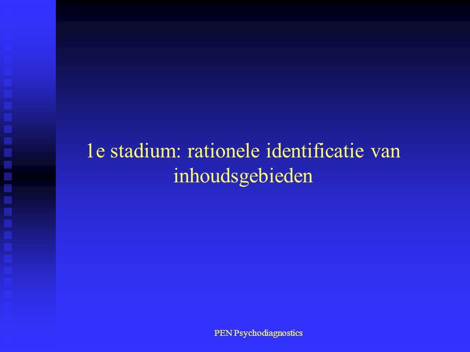 PEN Psychodiagnostics 1e stadium: rationele identificatie van inhoudsgebieden