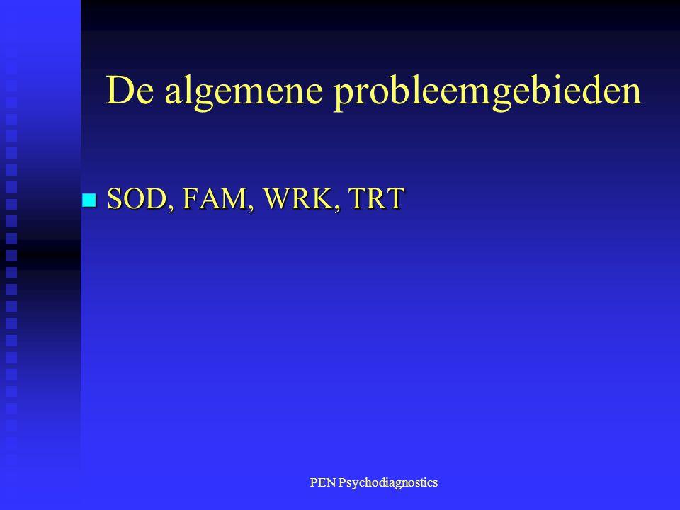 PEN Psychodiagnostics De algemene probleemgebieden n SOD, FAM, WRK, TRT