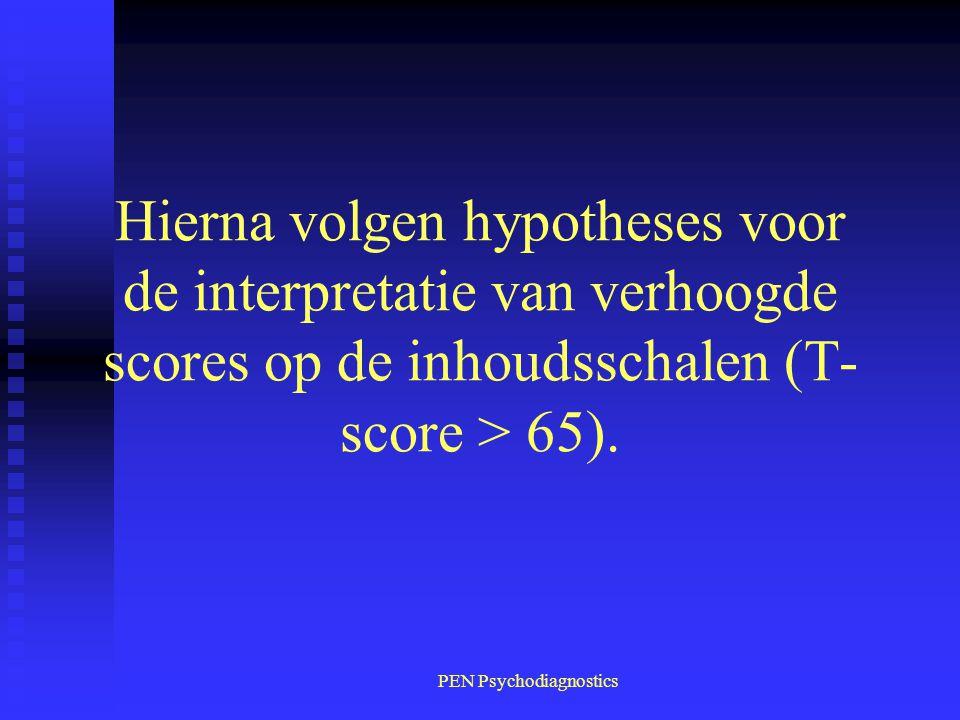 PEN Psychodiagnostics Hierna volgen hypotheses voor de interpretatie van verhoogde scores op de inhoudsschalen (T- score > 65).