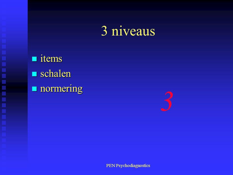 PEN Psychodiagnostics 3 niveaus n items n schalen n normering 3