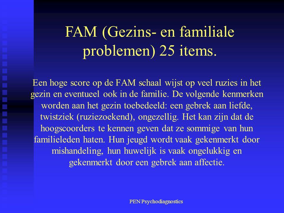 PEN Psychodiagnostics Een hoge score op de FAM schaal wijst op veel ruzies in het gezin en eventueel ook in de familie. De volgende kenmerken worden a