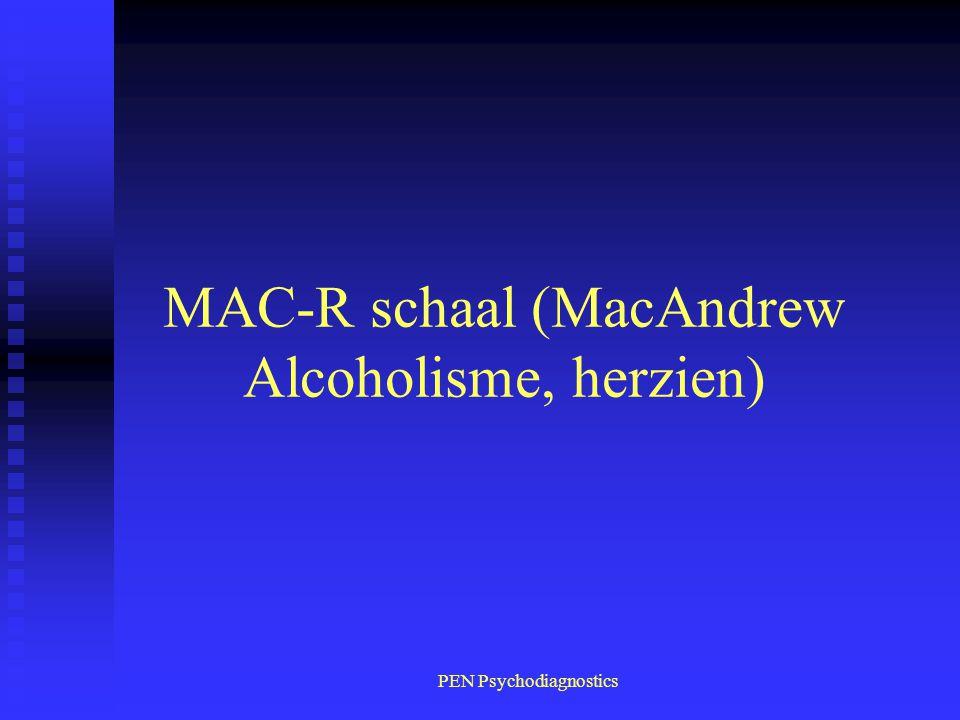 PEN Psychodiagnostics MAC-R schaal (MacAndrew Alcoholisme, herzien)