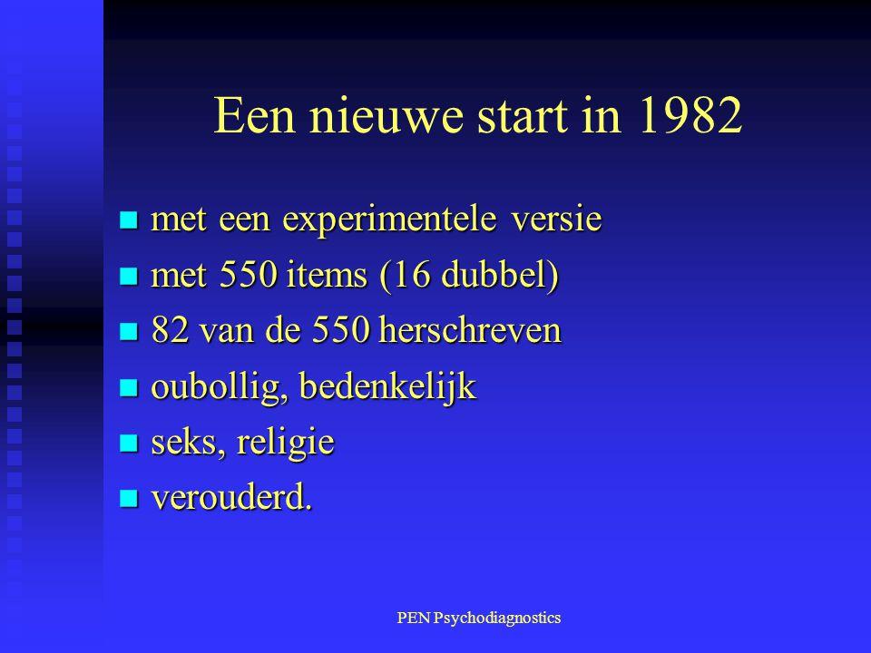 PEN Psychodiagnostics Een nieuwe start in 1982 n met een experimentele versie n met 550 items (16 dubbel) n 82 van de 550 herschreven n oubollig, bede