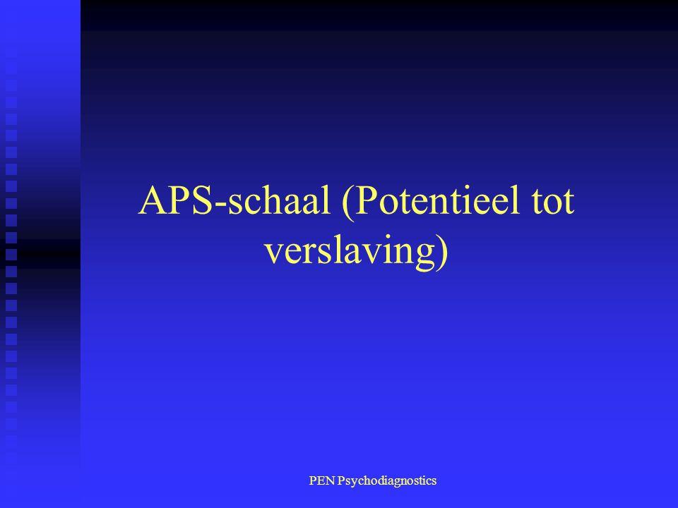 PEN Psychodiagnostics APS-schaal (Potentieel tot verslaving)