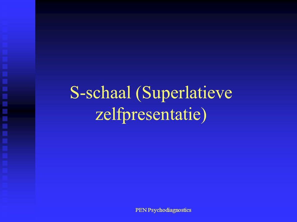 PEN Psychodiagnostics S-schaal (Superlatieve zelfpresentatie)
