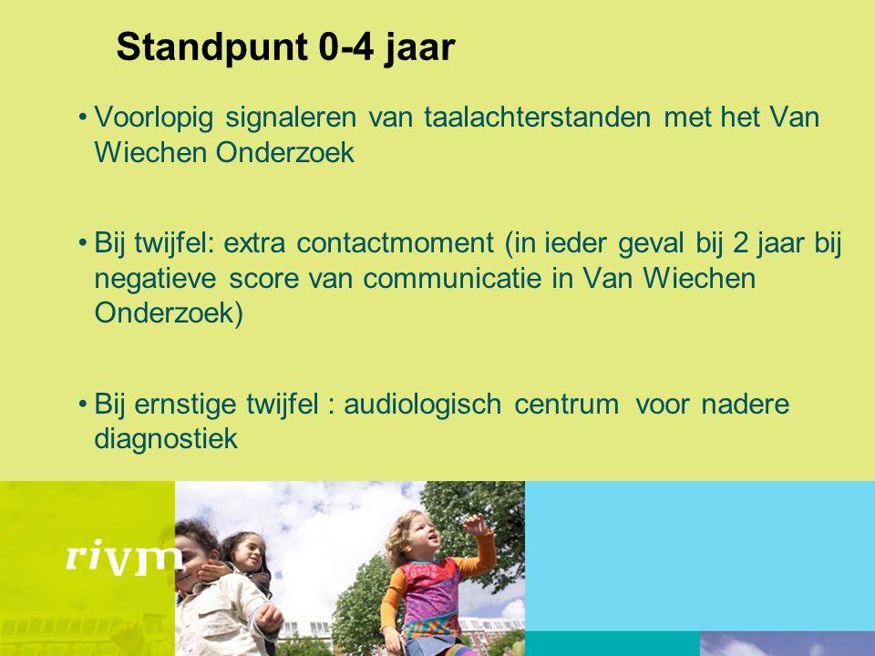 Standpunt 0-4 jaar •Voorlopig signaleren van taalachterstanden met het Van Wiechen Onderzoek •Bij twijfel: extra contactmoment (in ieder geval bij 2 j