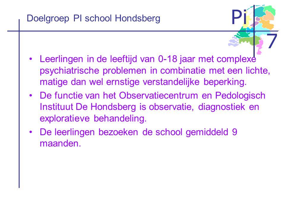 Pi 7 Doelgroep PI school Hondsberg •Leerlingen in de leeftijd van 0-18 jaar met complexe psychiatrische problemen in combinatie met een lichte, matige