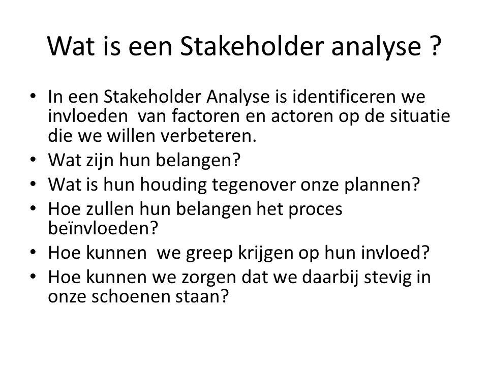 Wat is een Stakeholder analyse ? • In een Stakeholder Analyse is identificeren we invloeden van factoren en actoren op de situatie die we willen verbe