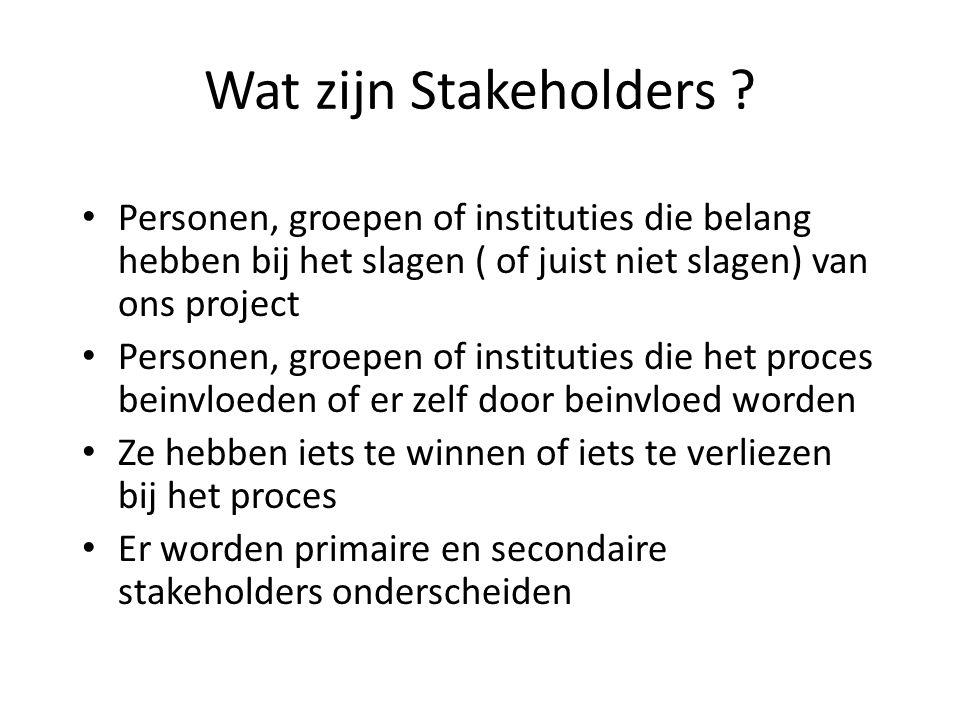 Wat zijn Stakeholders ? • Personen, groepen of instituties die belang hebben bij het slagen ( of juist niet slagen) van ons project • Personen, groepe