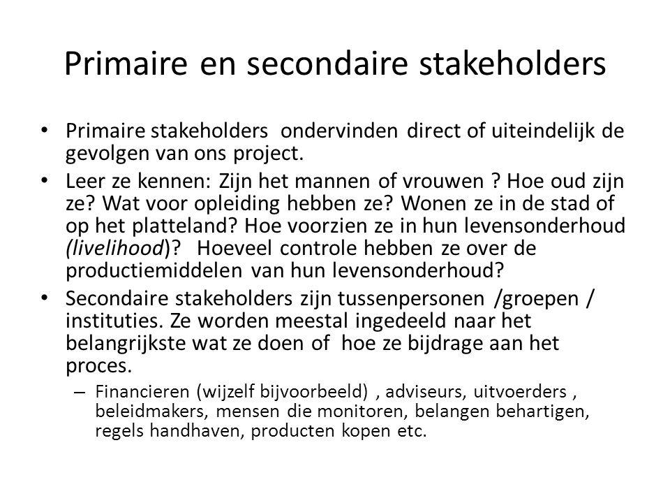 Primaire en secondaire stakeholders • Primaire stakeholders ondervinden direct of uiteindelijk de gevolgen van ons project. • Leer ze kennen: Zijn het