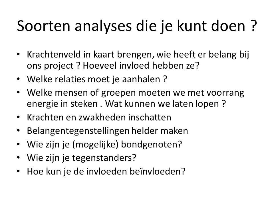 Soorten analyses die je kunt doen ? • Krachtenveld in kaart brengen, wie heeft er belang bij ons project ? Hoeveel invloed hebben ze? • Welke relaties