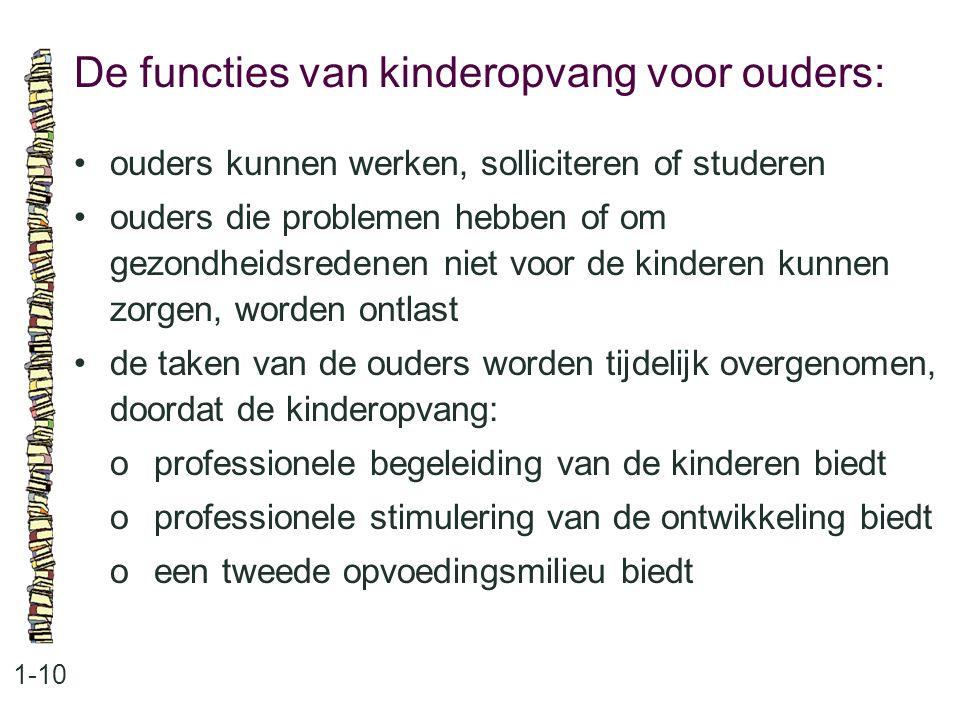 De functies van kinderopvang voor ouders: 1-10 •ouders kunnen werken, solliciteren of studeren •ouders die problemen hebben of om gezondheidsredenen n