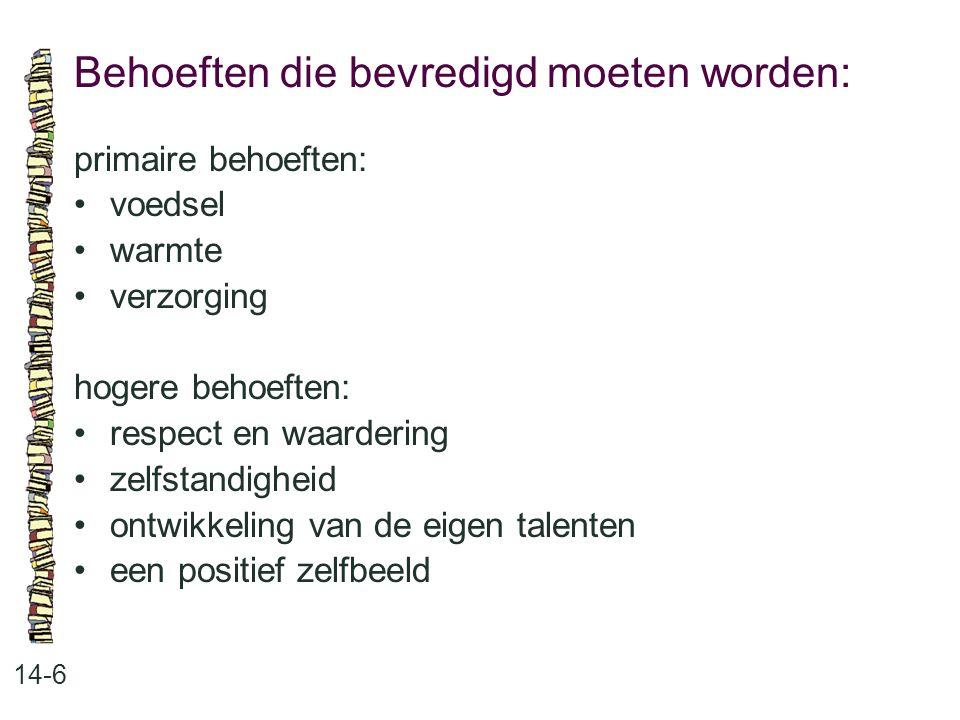 Behoeften die bevredigd moeten worden: 14-6 primaire behoeften: •voedsel •warmte •verzorging hogere behoeften: •respect en waardering •zelfstandigheid