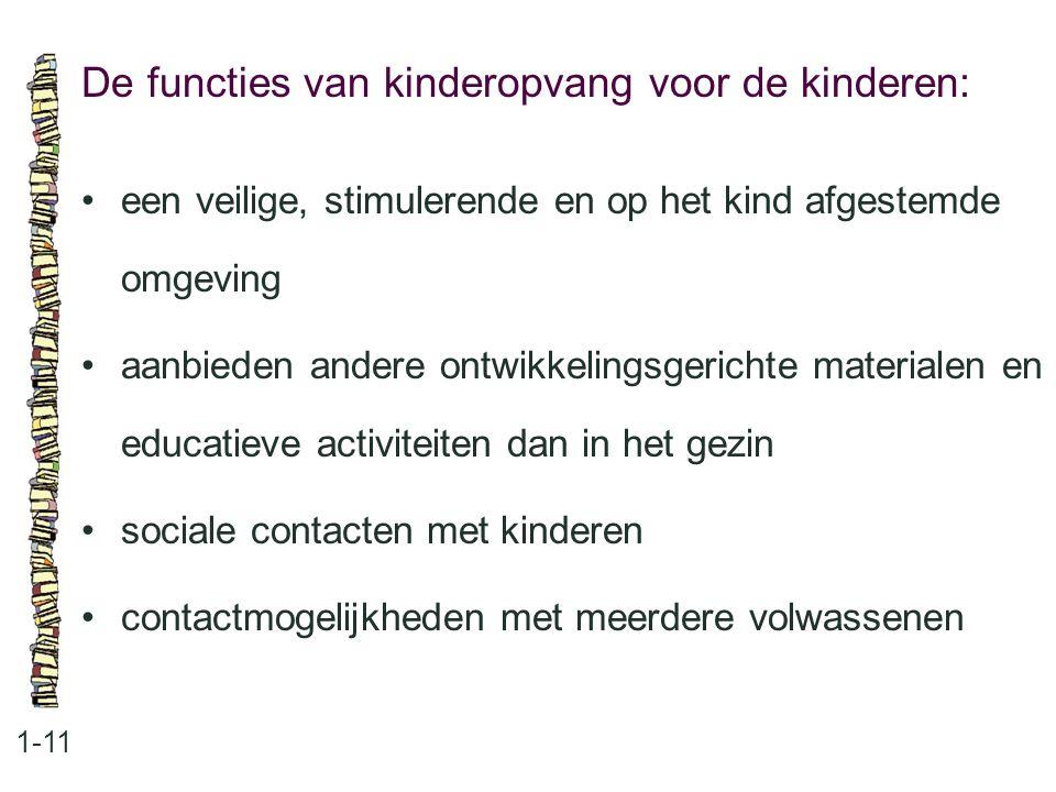 De functies van kinderopvang voor de kinderen: 1-11 •een veilige, stimulerende en op het kind afgestemde omgeving •aanbieden andere ontwikkelingsgeric