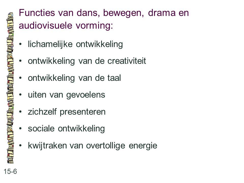 Functies van dans, bewegen, drama en audiovisuele vorming: 15-6 •lichamelijke ontwikkeling •ontwikkeling van de creativiteit •ontwikkeling van de taal
