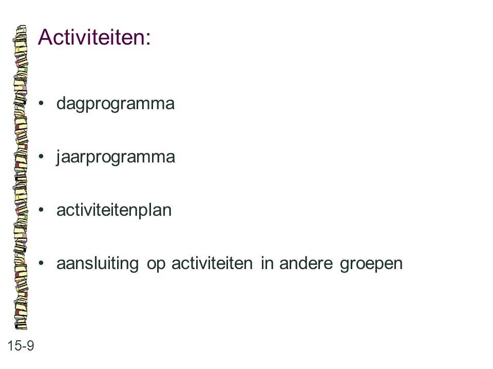 Activiteiten: 15-9 •dagprogramma •jaarprogramma •activiteitenplan •aansluiting op activiteiten in andere groepen