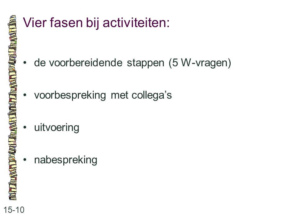 Vier fasen bij activiteiten: 15-10 •de voorbereidende stappen (5 W-vragen) •voorbespreking met collega's •uitvoering •nabespreking