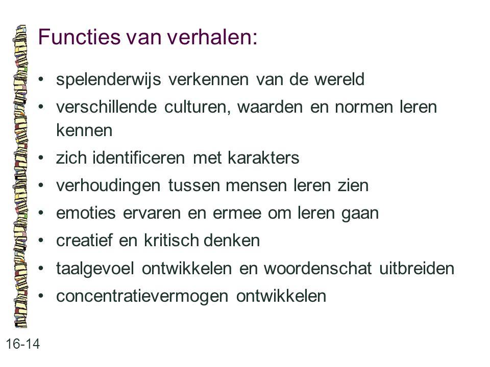 Functies van verhalen: 16-14 •spelenderwijs verkennen van de wereld •verschillende culturen, waarden en normen leren kennen •zich identificeren met ka
