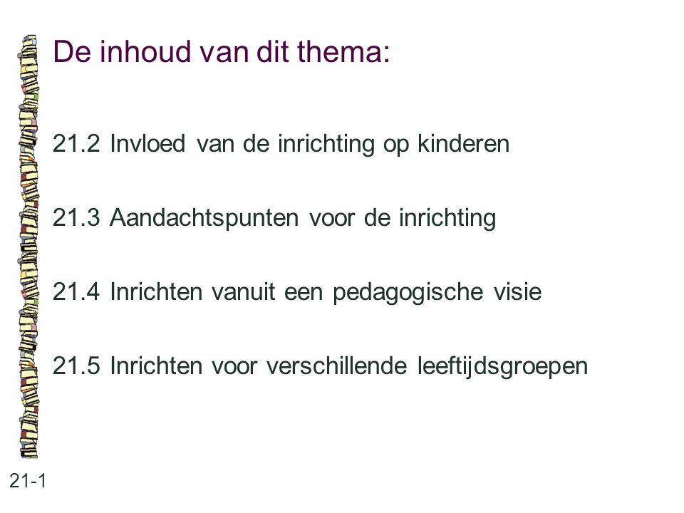 De inhoud van dit thema: 21-1 21.2Invloed van de inrichting op kinderen 21.3 Aandachtspunten voor de inrichting 21.4 Inrichten vanuit een pedagogische
