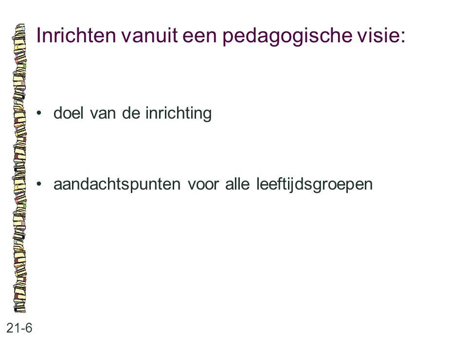 Inrichten vanuit een pedagogische visie: 21-6 •doel van de inrichting •aandachtspunten voor alle leeftijdsgroepen
