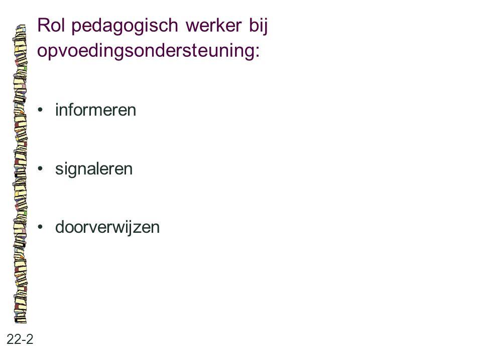 Rol pedagogisch werker bij opvoedingsondersteuning: 22-2 •informeren •signaleren •doorverwijzen