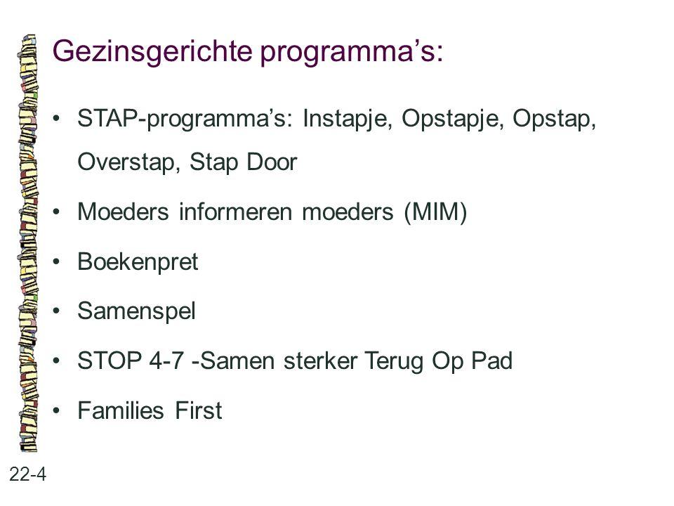 Gezinsgerichte programma's: 22-4 •STAP-programma's: Instapje, Opstapje, Opstap, Overstap, Stap Door •Moeders informeren moeders (MIM) •Boekenpret •Sam