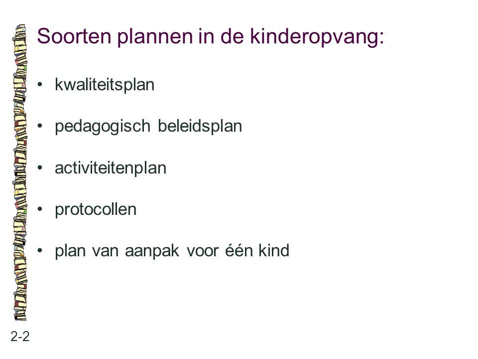 Soorten plannen in de kinderopvang: 2-2 •kwaliteitsplan •pedagogisch beleidsplan •activiteitenplan •protocollen •plan van aanpak voor één kind