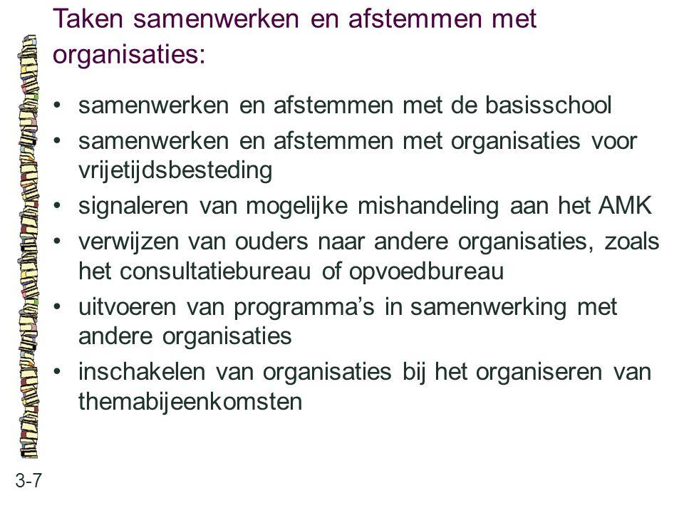 Taken samenwerken en afstemmen met organisaties: 3-7 •samenwerken en afstemmen met de basisschool •samenwerken en afstemmen met organisaties voor vrij