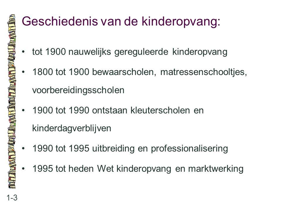 Geschiedenis van de kinderopvang: 1-3 •tot 1900 nauwelijks gereguleerde kinderopvang •1800 tot 1900 bewaarscholen, matressenschooltjes, voorbereidings